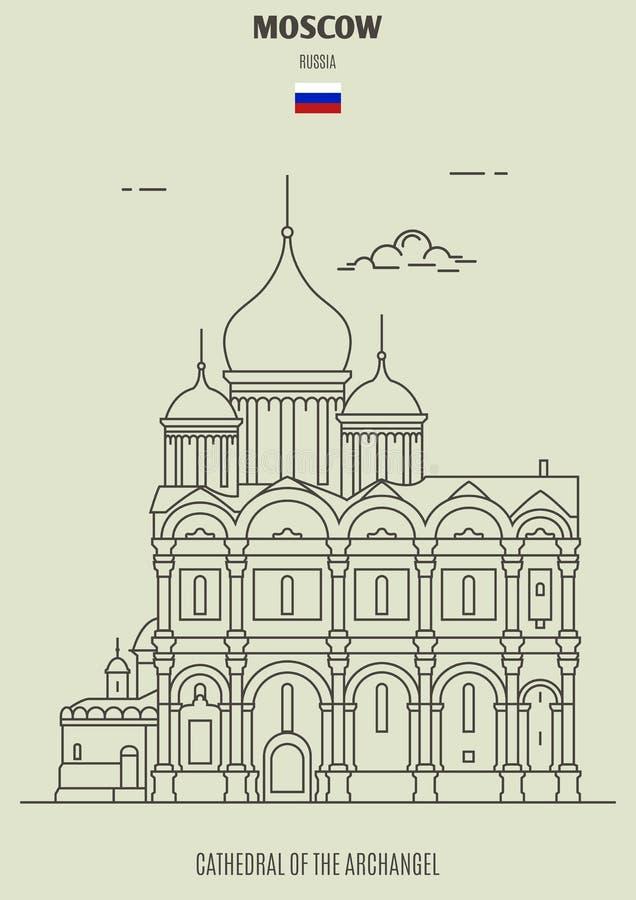 Cathédrale d'Arkhangel à Moscou, Russie Icône de point de repère illustration stock
