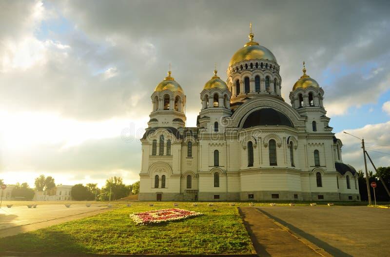 Cathédrale d'ascension de centre serveur Novocherkask Russie Coucher du soleil photographie stock