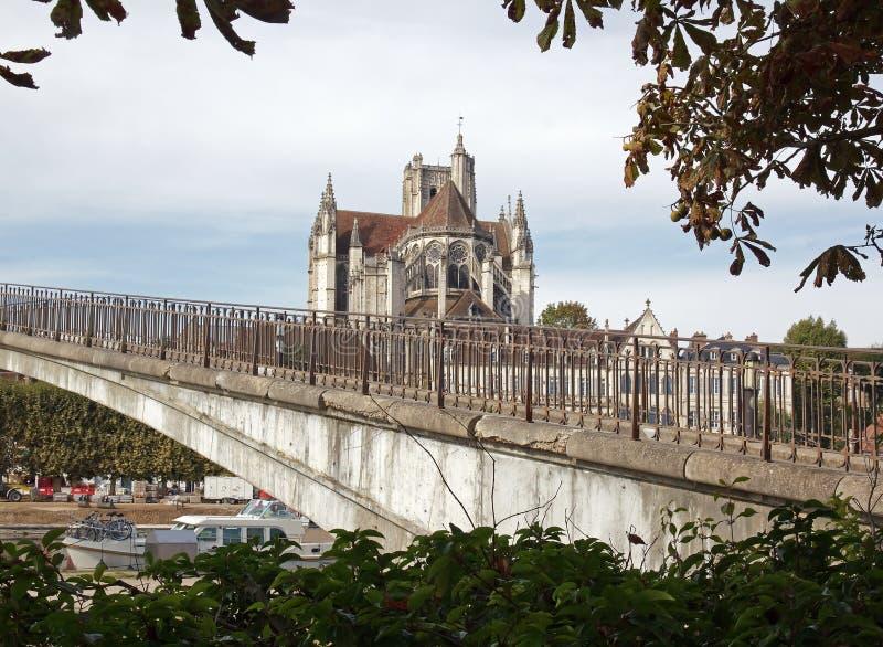 Cathédrale d'Auxerre (Bourgogne France) photographie stock libre de droits