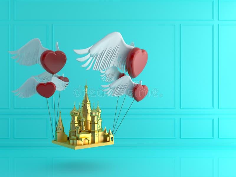 Cathédrale d'or du ` s de St Basil avec le coeur rouge dans la chambre bleue Amour photographie stock