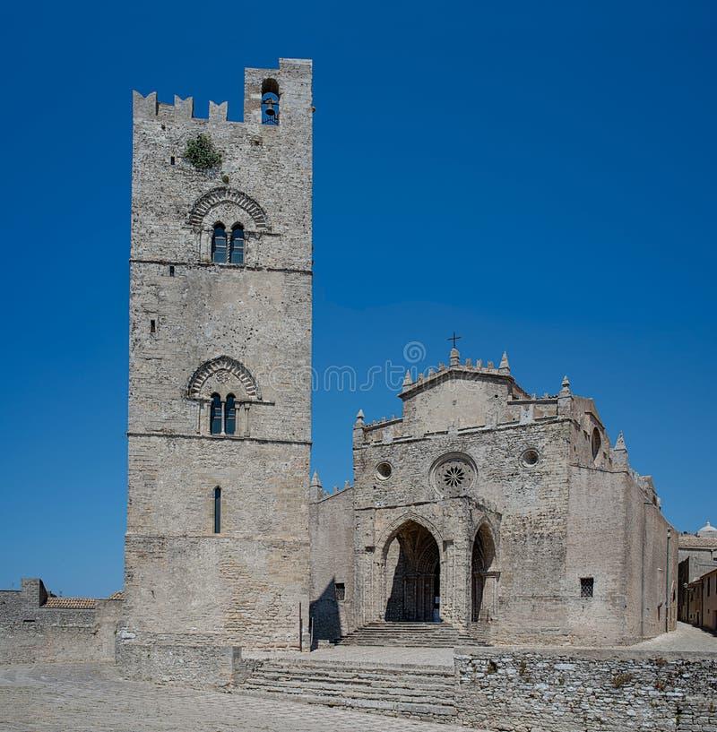 Cathédrale d'Erice, Santa Maria Assunta La Sicile, Italie image libre de droits