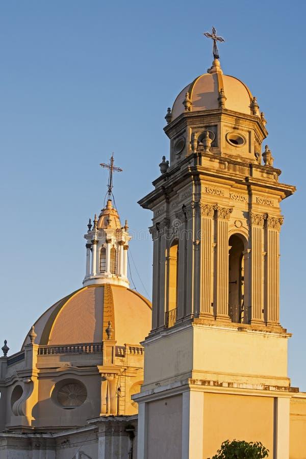 Cathédrale de Colima avec la tour et le dôme images libres de droits