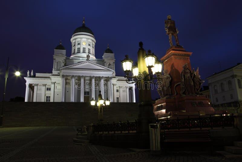 Cathédrale de Helsinki par nuit photographie stock