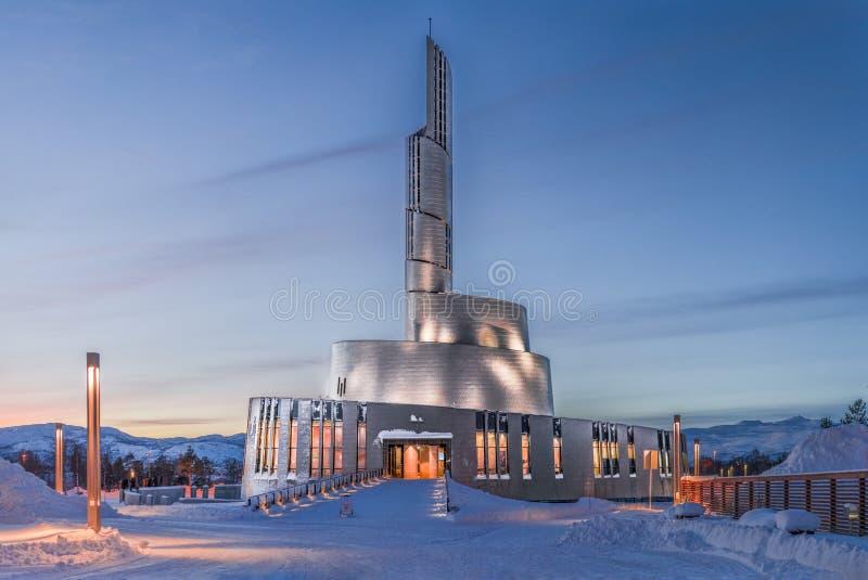 Cathédrale de lumière du nord - Nordlyskatedralen photographie stock libre de droits