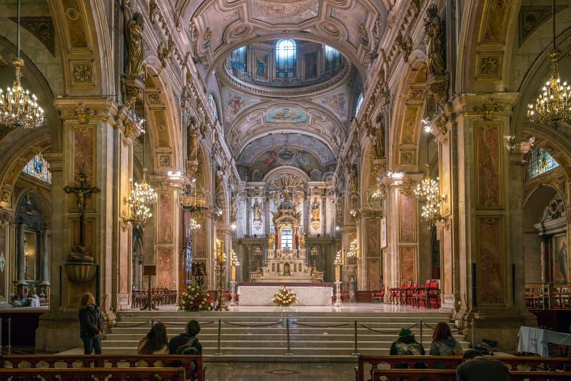 Cathédrale de Metropolitana sur Plaza de Armas à Santiago, Chili image libre de droits