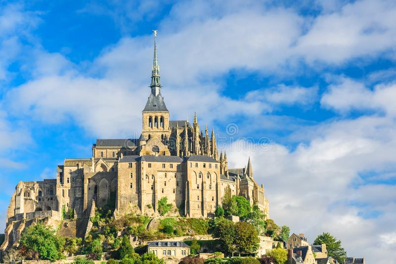 Cathédrale de Mont Saint Michel sur l'île, Normandie, France du nord photo stock