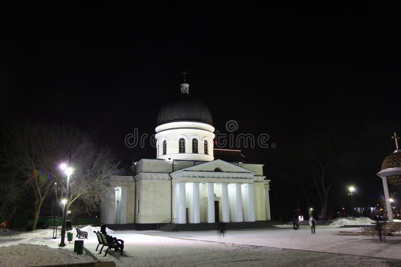 Cathédrale de nativité à Kishinev ou ChiÈ™inău la nuit moldau images stock