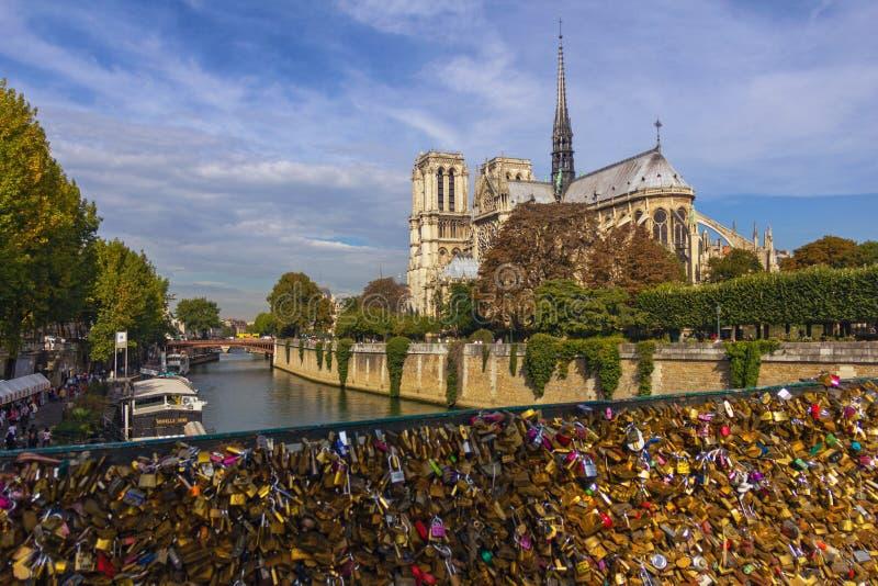 Cathédrale de Notre Dame de Paris d'architecture gothique, France photos libres de droits