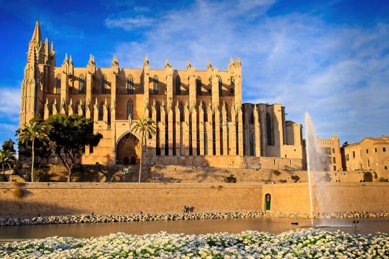 Cathédrale de Palma, soirée, heure d'or, baignée dans la lumière du soleil chaude, ciel bleu, nuages blancs, estrades dans le pre photo libre de droits