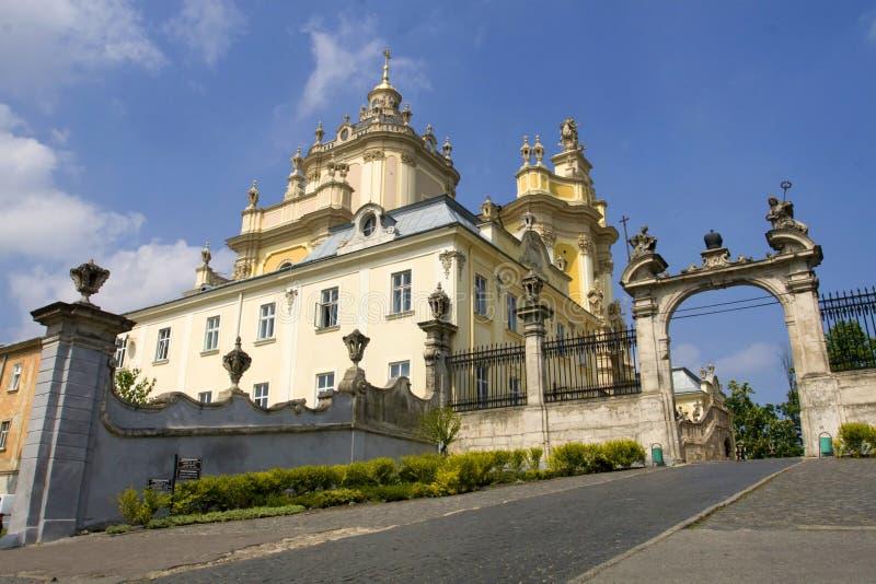 Cathédrale de rue George à Lviv images stock