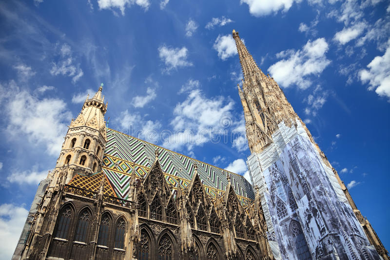 Cathédrale de rue Stephan à Vienne photo libre de droits