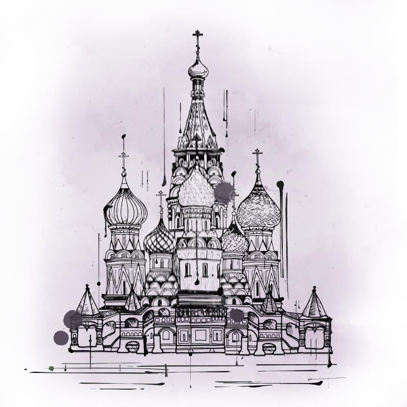 Cathédrale de saint Basil, Moscou, Russie illustration de vecteur