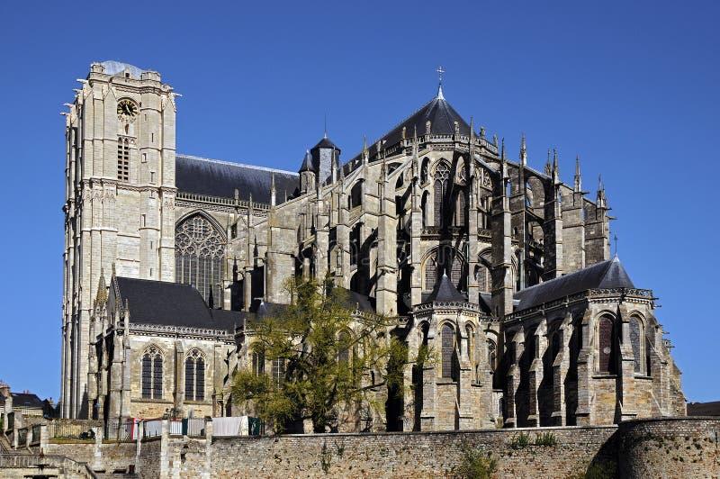 Cathédrale de saint Julien chez le Mans en France photo libre de droits