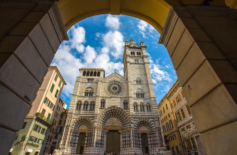 Cathédrale de Saint-Laurent, San Lorenzo, Gênes, Italie image libre de droits