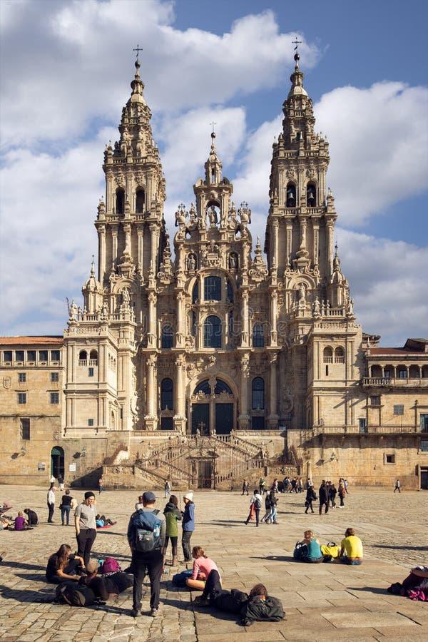 Cathédrale de Santiago de Compostela de place d'Obradoiro images libres de droits