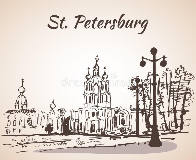 Cathédrale de Smolny à St Petersburg, Russie illustration libre de droits