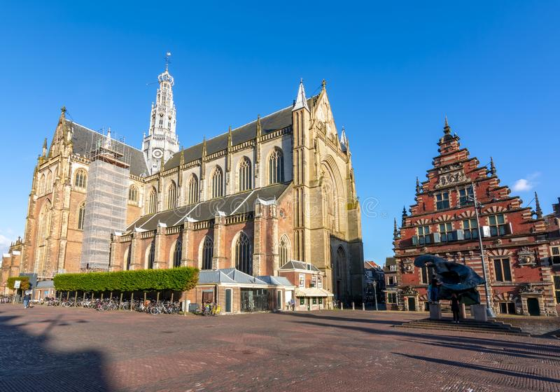 Cathédrale de St Bavo sur la place du marché, Haarlem, Pays-Bas image stock