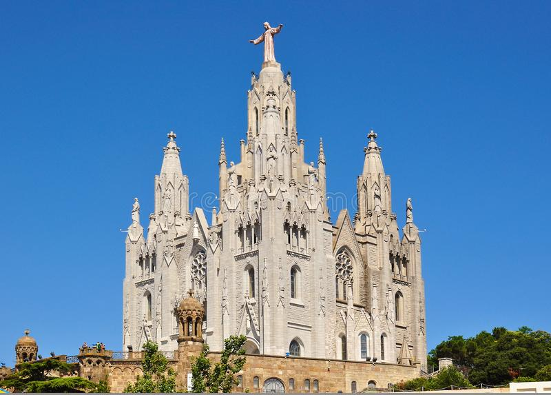 Cathédrale de Tibidabo, Barcelone, Espagne photographie stock libre de droits