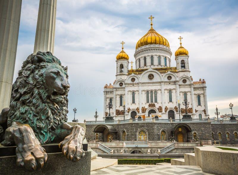 Cathédrale du Christ le sauveur, bâtiment iconique avec l'histoire à carreaux - Moscou, Russie images libres de droits