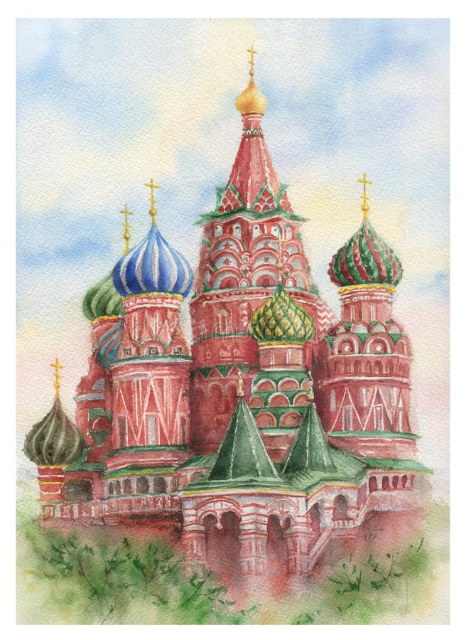 Cathédrale du ` s de St Basil d'aquarelle sur la place rouge à Moscou illustration stock