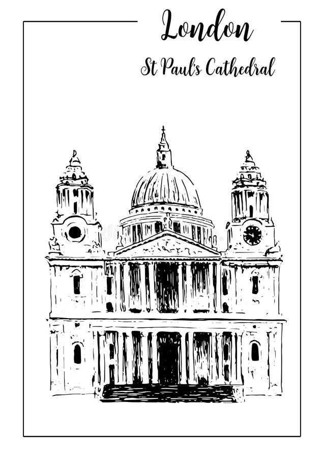 Cathédrale du ` s de St Paul de symbole de Londres Belle illustration tirée par la main de croquis de vecteur illustration de vecteur