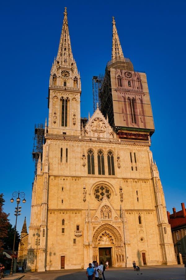 Cathédrale gothique de Zagreb de style, Croatie image libre de droits
