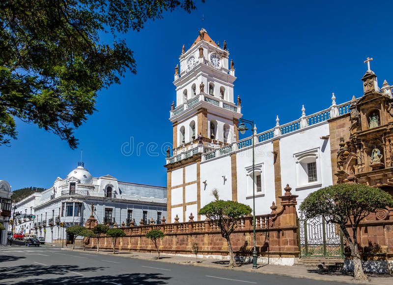 Cathédrale métropolitaine de sucre - sucre, Bolivie photographie stock libre de droits