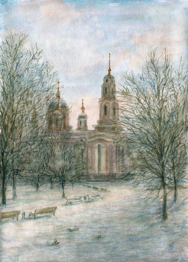Cathédrale orthodoxe illustration de vecteur