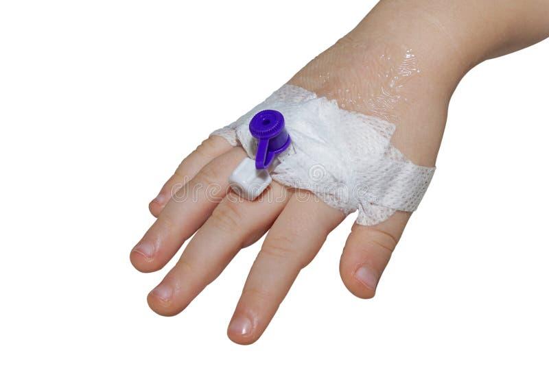 Cathéter intraveineux périphérique dans la veine de la main d'enfant d'isolement sur le plan rapproché blanc photographie stock