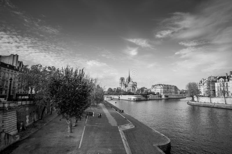 Cath?drale d'apr?s-midi ensoleill? d'automne de Notre Dame de Paris Remblai de la Seine Les indig?nes et les touristes font un to image stock