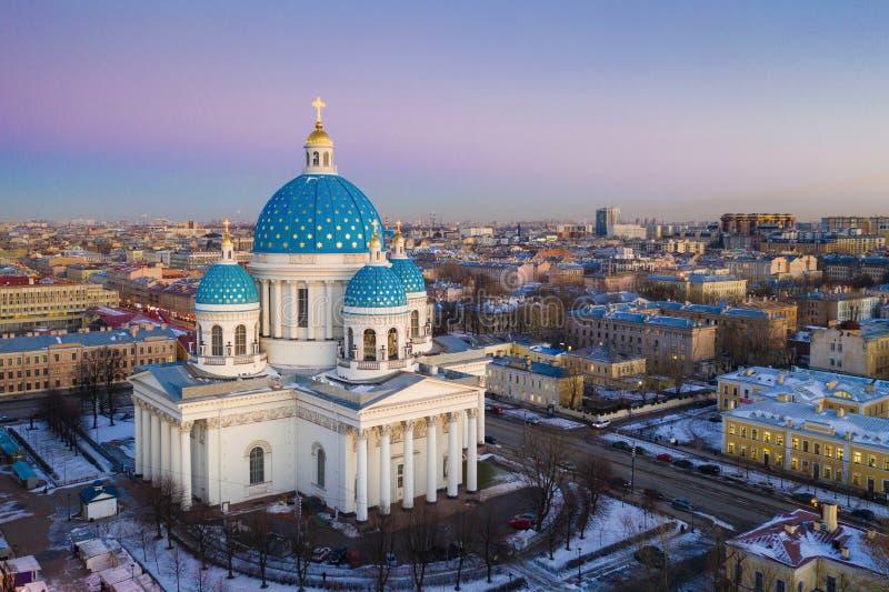 Cath?drale orthodoxe de cath?drale de trinit? dans Troitsky Prospekt dans le secteur d'Amiraut? de St Petersburg image libre de droits
