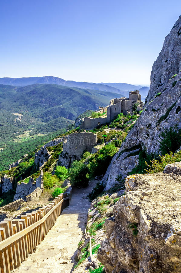 Cathar κάστρο Peyrepertuse στοκ φωτογραφίες με δικαίωμα ελεύθερης χρήσης