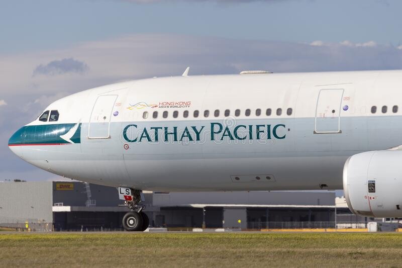 Cathay Pacific Airways Airbus A330 airliner Aircraft B-HLS preparing for takeoff from Melbourne International Airport royalty free stock image