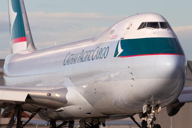 Cathay Pacific Cargo Airways Boeing 747-8 Cargo Aircraft B-LJM preparing for takeoff from Melbourne International Airport stock image