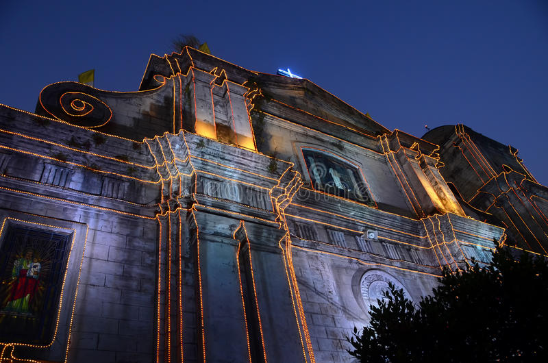 Cathedral. The Imus Cathedral in Imus, Cavite, Philippines, lit for Christmas stock photos