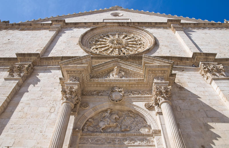 Cathedral of Acquaviva delle Fonti. Puglia. Italy. Perspective of the St. Eustachio Cathedral of Acquaviva delle Fonti. Puglia. Italy stock photography