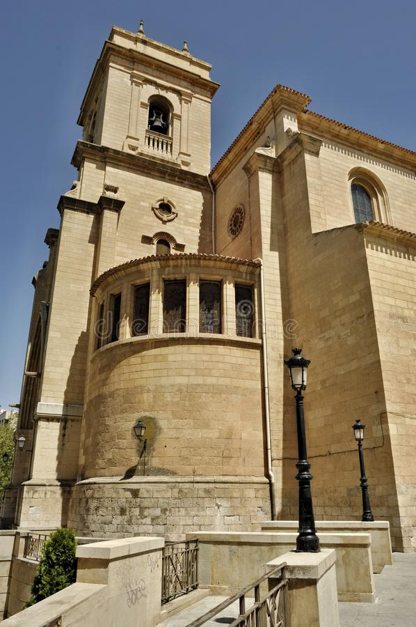Cathedral of Albacete - Spain. Historical cathedral in Albacete, Spain. Tower and facade stock images
