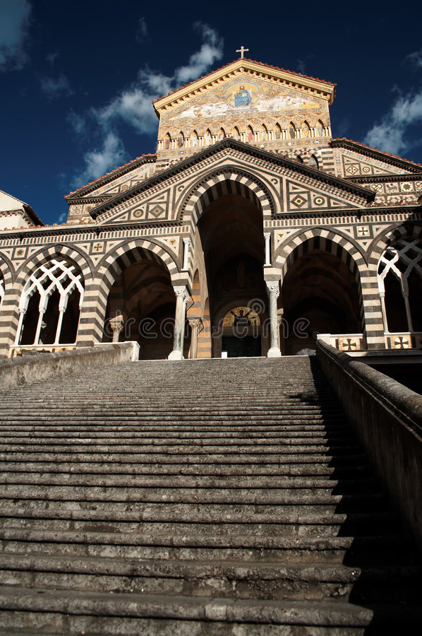 Cathedral in Amalfi stock photography