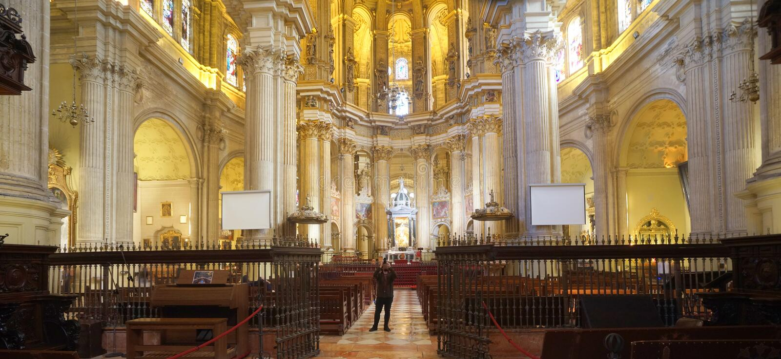 Cathedral of the Andalusian city of Malaga, Spain. The inside of the cathedral in the old part of the Andalusian city of Malaga, Spain royalty free stock images