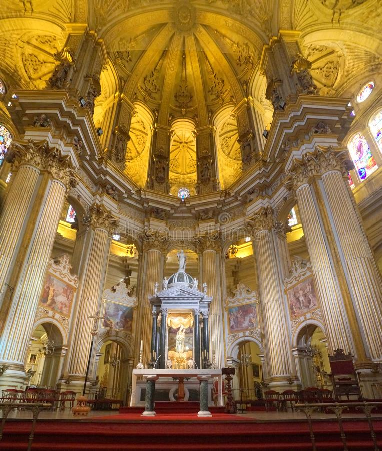 Cathedral of the Andalusian city of Malaga, Spain. The inside of the cathedral in the old part of the Andalusian city of Malaga, Spain stock images
