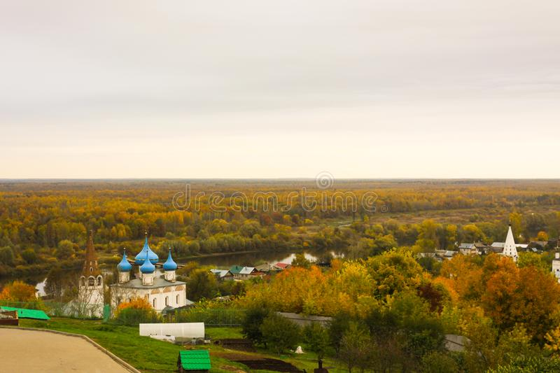 Cathedral of the Annunciation and Klyazma River. Gorokhovets. Vladimir oblast, Russia stock image