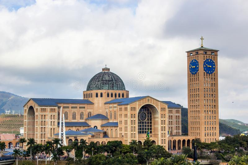 The Cathedral of Aparecida. The Basilica National Sanctuary Cathedral of Our Lady of the Conception Aparecida, also known as National Shrine of Our Lady royalty free stock photo