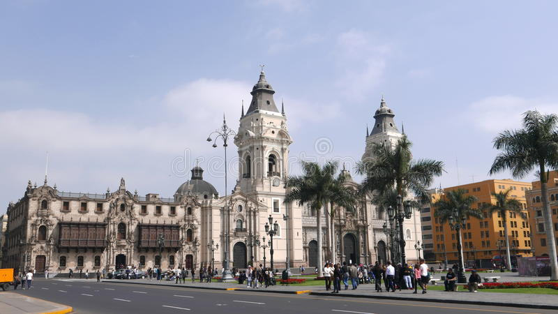 Cathedral and the Archbishop's palace in Lima royalty free stock photos