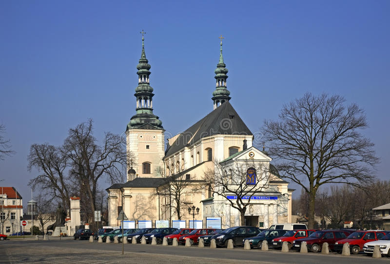 Cathedral of Assumption of Blessed Virgin Mary and St. Nicholas in Lowicz. Poland.  stock images
