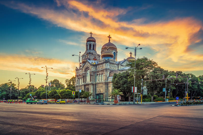 The Cathedral of the Assumption in Varna. The Religion Cathedral of the Assumption in Varna stock photo