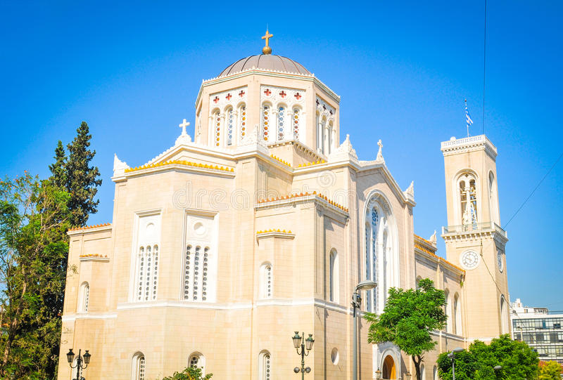 Cathedral in Athens, Greece. Athens, Greece - June 13, 2017: Tourists visit the Metropolitan Cathedral of the Annunciation in Athens, Greece royalty free stock image