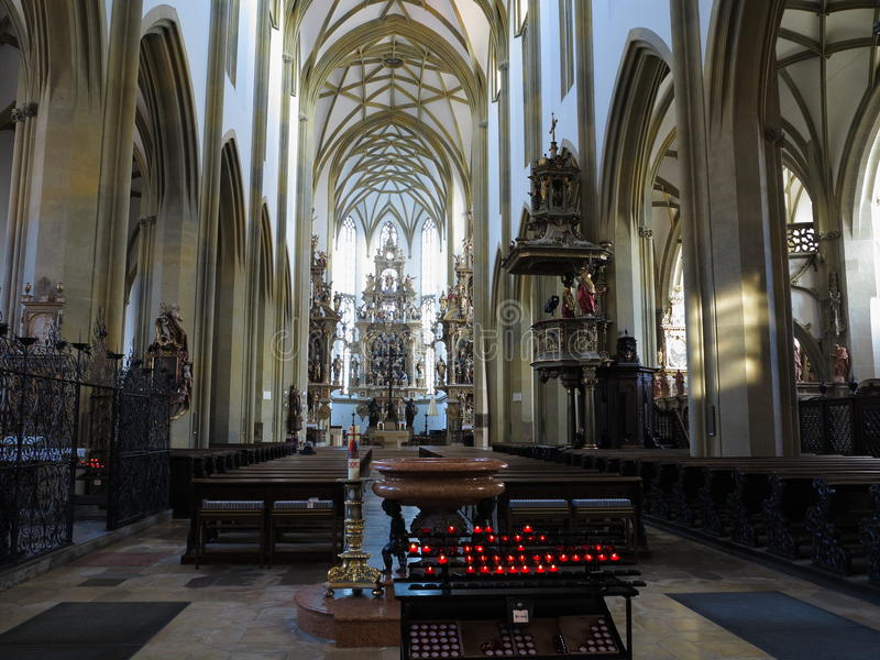 Minor basilica of Augsburg interior. Inside the St. Ulrichs and St. Afras Basilica in Augsburg, Bavaria, Germany - a roman catholic church with impressive royalty free stock image