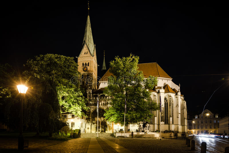 "Cathedral of Augsburg at night. Augsburg, Germany - June 20, 2015: The beautiful cathedral of Augsburg is illuminated at night during the festival ""the stock image"