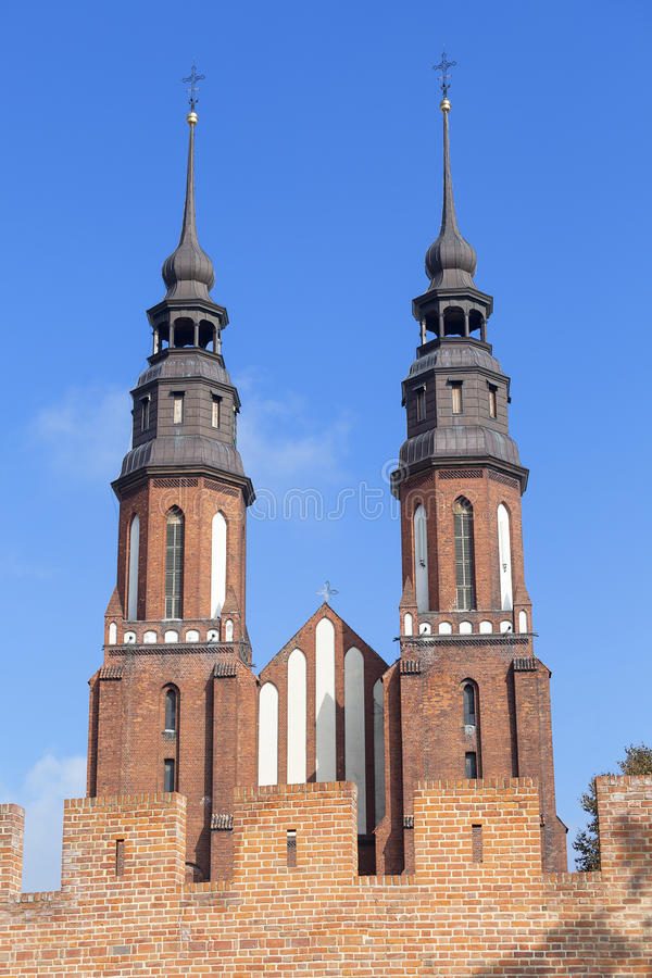 Cathedral Basilica of the Holy Cross, Opole, Poland.  stock photography