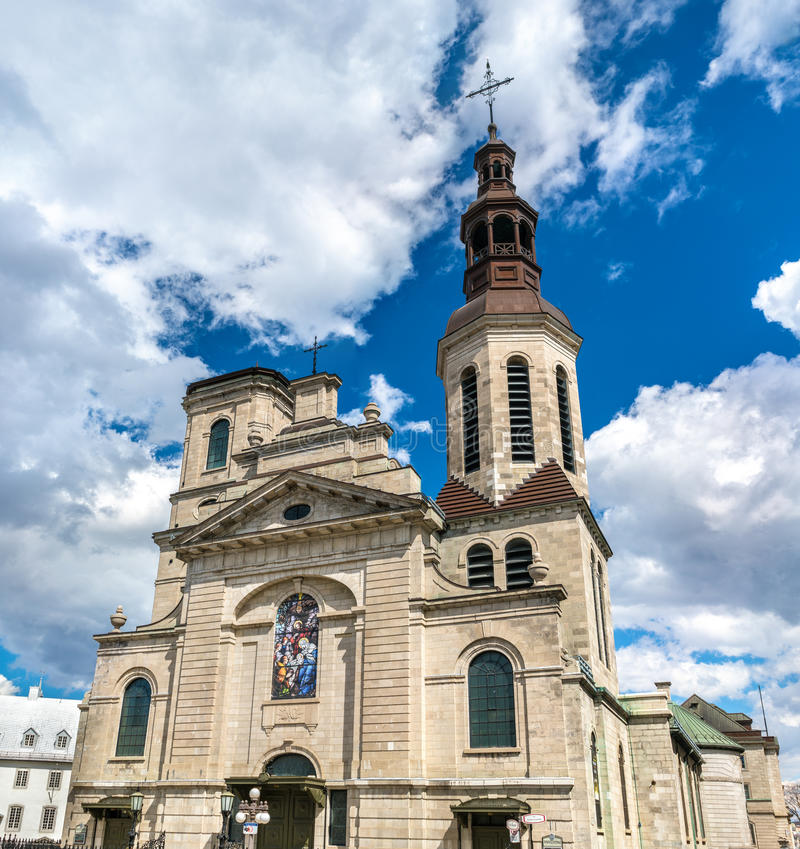 Cathedral-Basilica of Notre-Dame de Quebec in Canada royalty free stock photos
